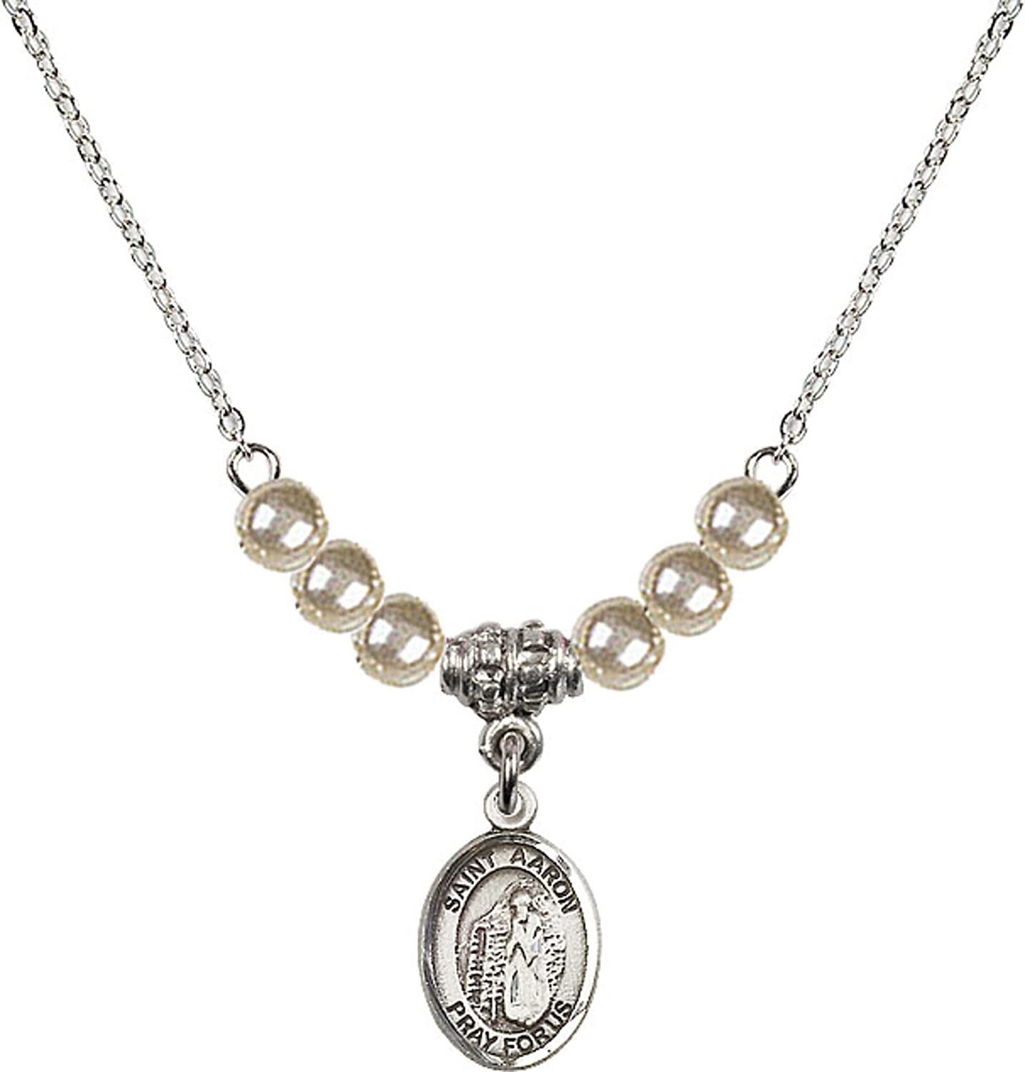 Bonyak Jewelry 18 Inch Rhodium Plated Necklace w// 4mm Faux-Pearl Beads and Saint Aaron Charm