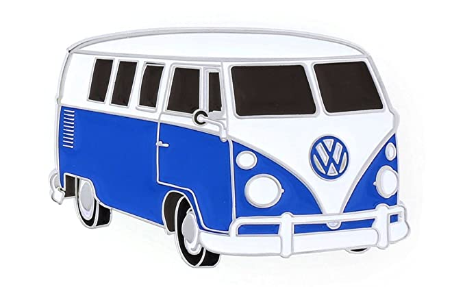 694a045de Classic vintage VW Bus Caravan metal belt buckle. Colorful detail and  polished finish bright retro
