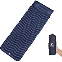 Unigear Ultralight Inflatable Sleeping Pad for Backpacking, Hiking and Traveling (Blue Pad with Pillow)