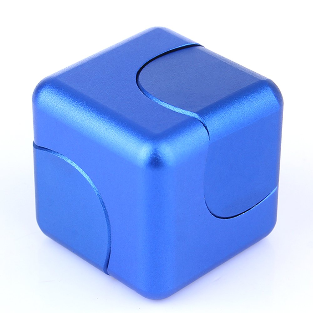 CXCASE Fidget Spinner Anti-Anxiety Helps Focusing Fidget Toys Premium Quality CNC Metallic Focus Toy for Kids & Adults - 4-in-1 Spinning Top, Z Spinner, Cube Spin - Cube Spinner Blue