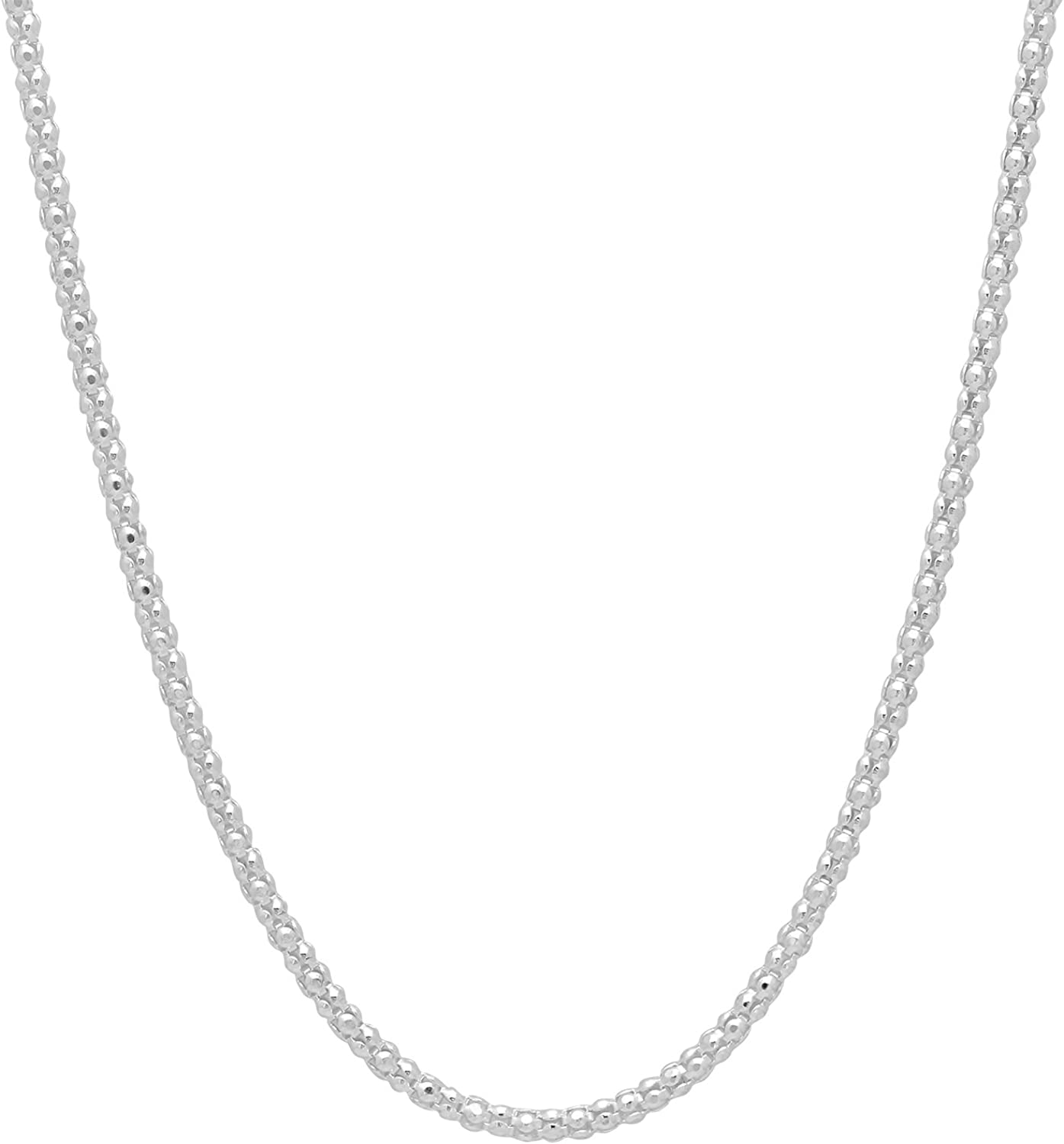 2.5mm High-Polished .925 Sterling Silver (Nickel Free) Round Popcorn Chain Necklace, 15'-30'