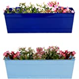 TrustBaske Set of 2 - Rectangular Railing Planter - Blue And Teal (18 Inch)