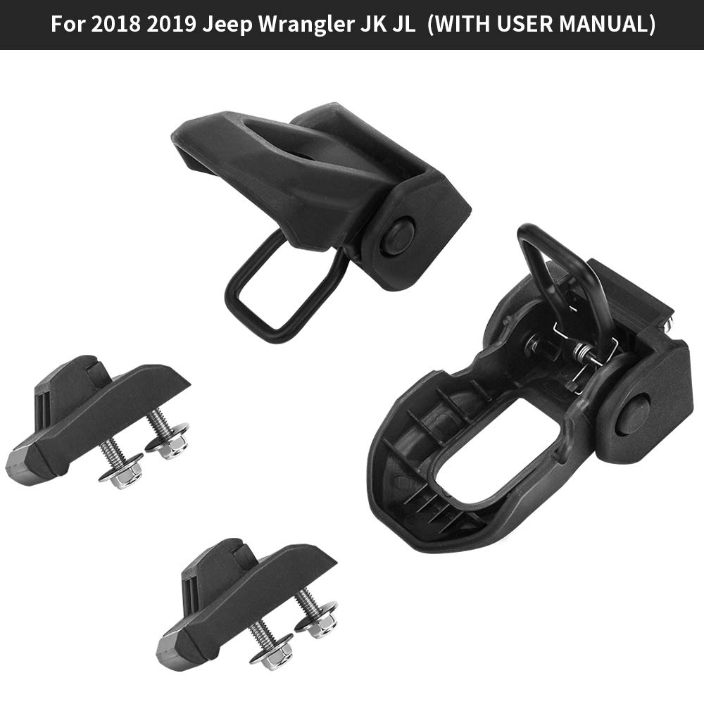 Hood Lock Latches Catch Kit for Jeep Wrangler 2018 2019 JK JL Black OsoTorero Hood Vents