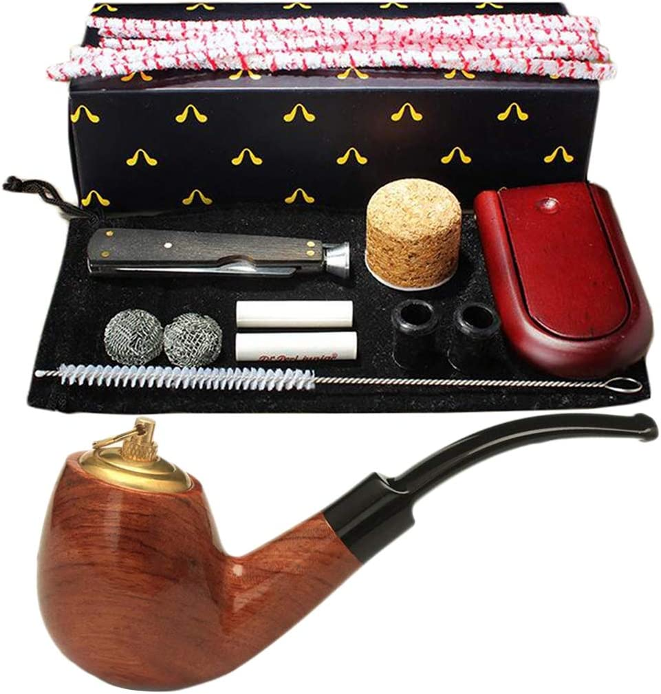 LUCKFY Pipa para Fumar, Pipa de Tabaco de Palisandro con Accesorios para Pipa Pipa para Fumar portátil Personalidad Desmontable Pipa de Tipo de Doble Uso (de Madera),Rosewood