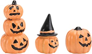 Cabilock Halloween Fairy Garden Miniature Resin Pumpkin Figurine Small Pumpkins Decor Doll House Accessories Halloween Thanksgiving Day Decoration 3pcs