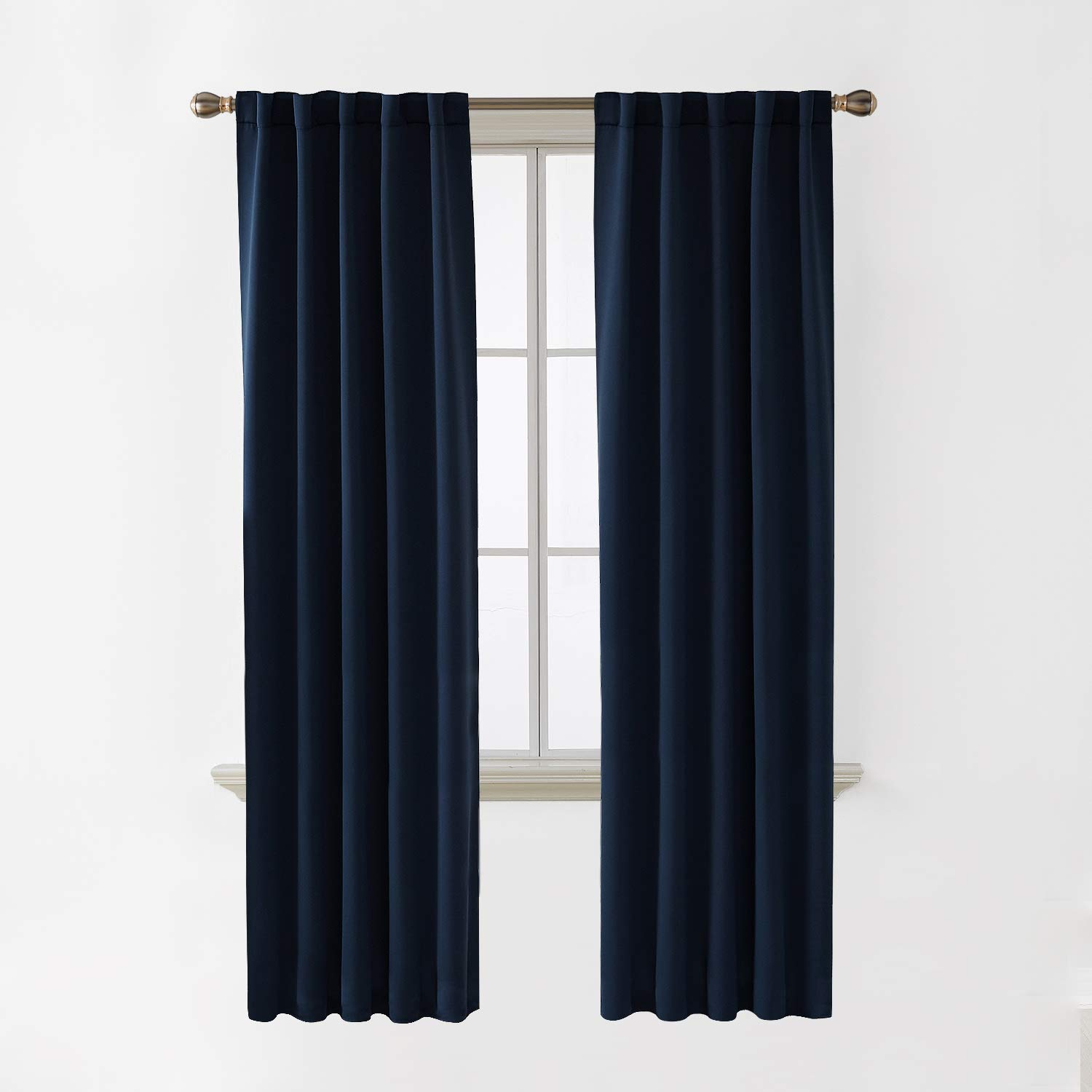 Deconovo Back Tab and Rod Pocket Blackout Curtains for Living Room Light Blocking Curtains 42x84 Inch Navy Blue 2 Panels