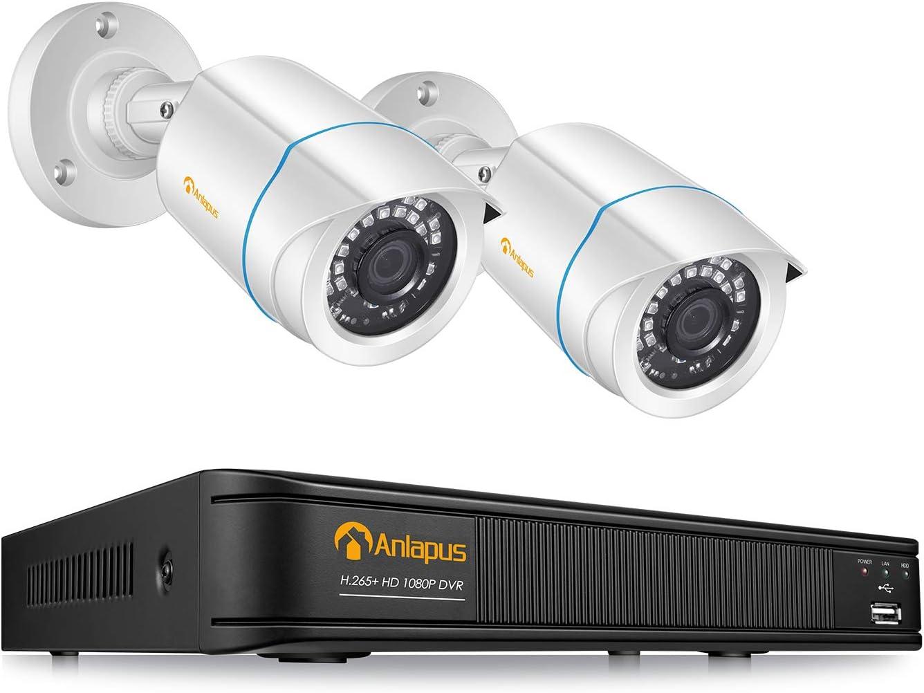 Anlapus 1080P Kit Videovigilancia Sistema de Seguridad 8 Canales H.265+ Grabador DVR con 2 Cámara de Vigilancia Exterior, sin Disco Duro, Visión Nocturna, P2P