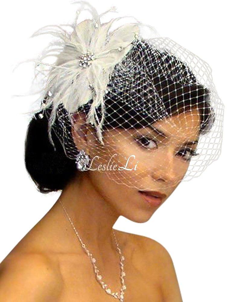 Leslie Li Womens Rhinestone Pearl Fascinator /& Bridal Birdcage Veil One Size Ivory 21-F31 21-31 ivory