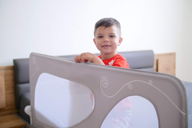 Wei/ß Grau Babyjoy XL Bettschutzgitter 150 cm Grau Kinder Bettgitter Babybettgitter