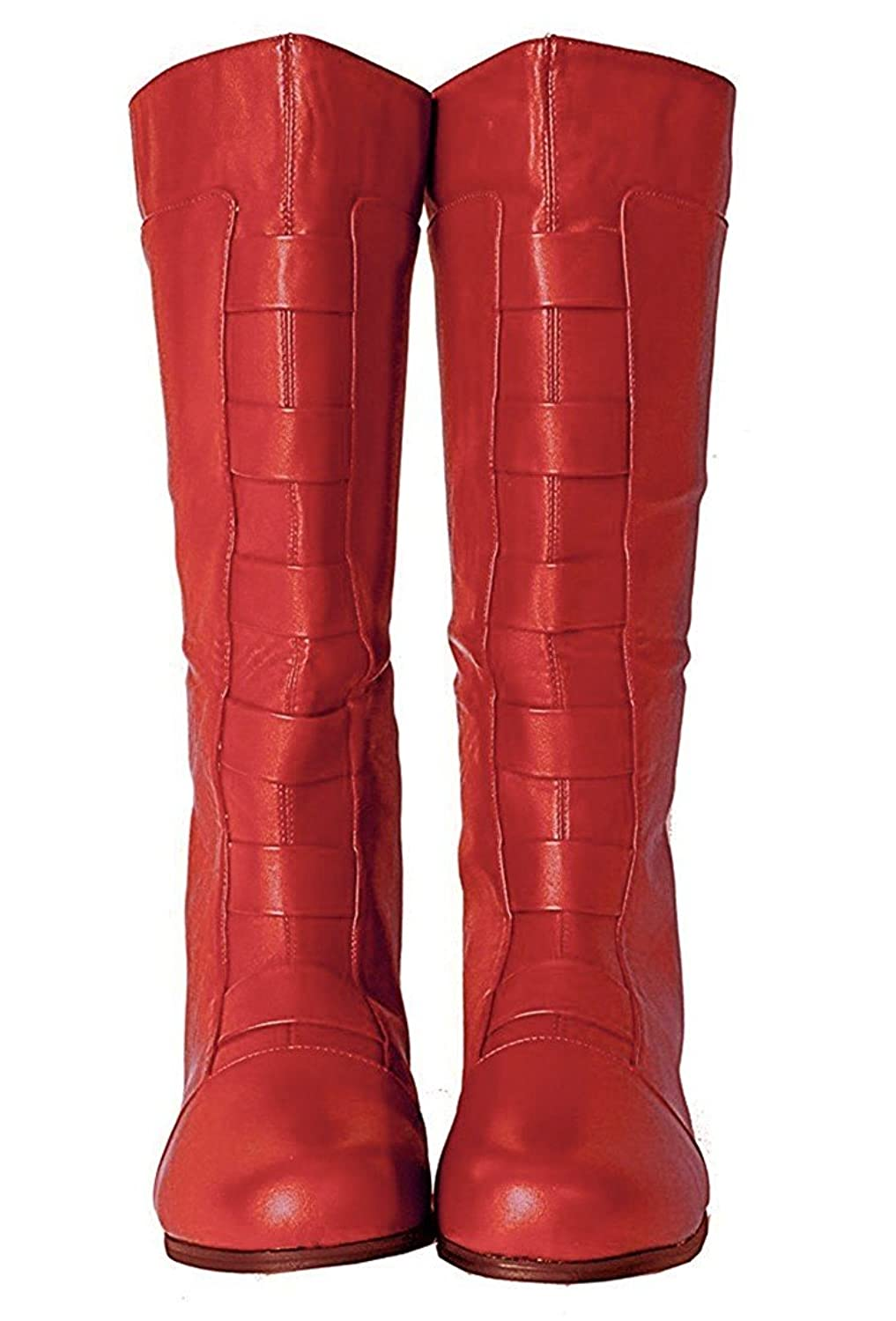 Men's Captain America Avengers Red Faux Leather Boots - DeluxeAdultCostumes.com