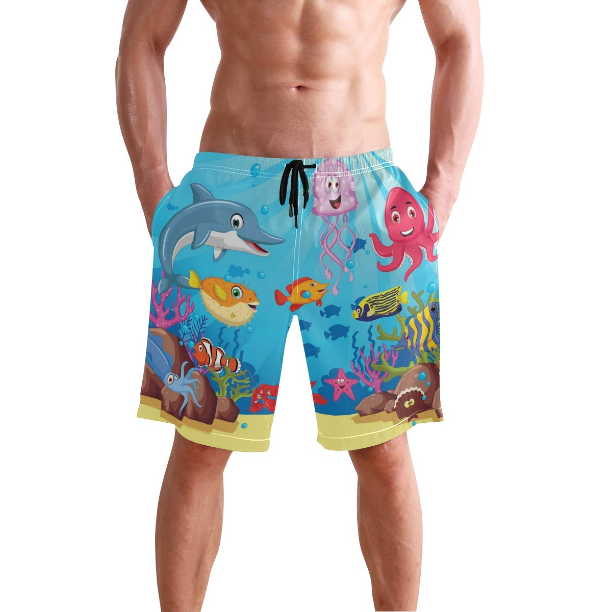 COVASA Mens Summer ShortsHand-Drawn Childish Motifs of Frogs Simple Doodle Art
