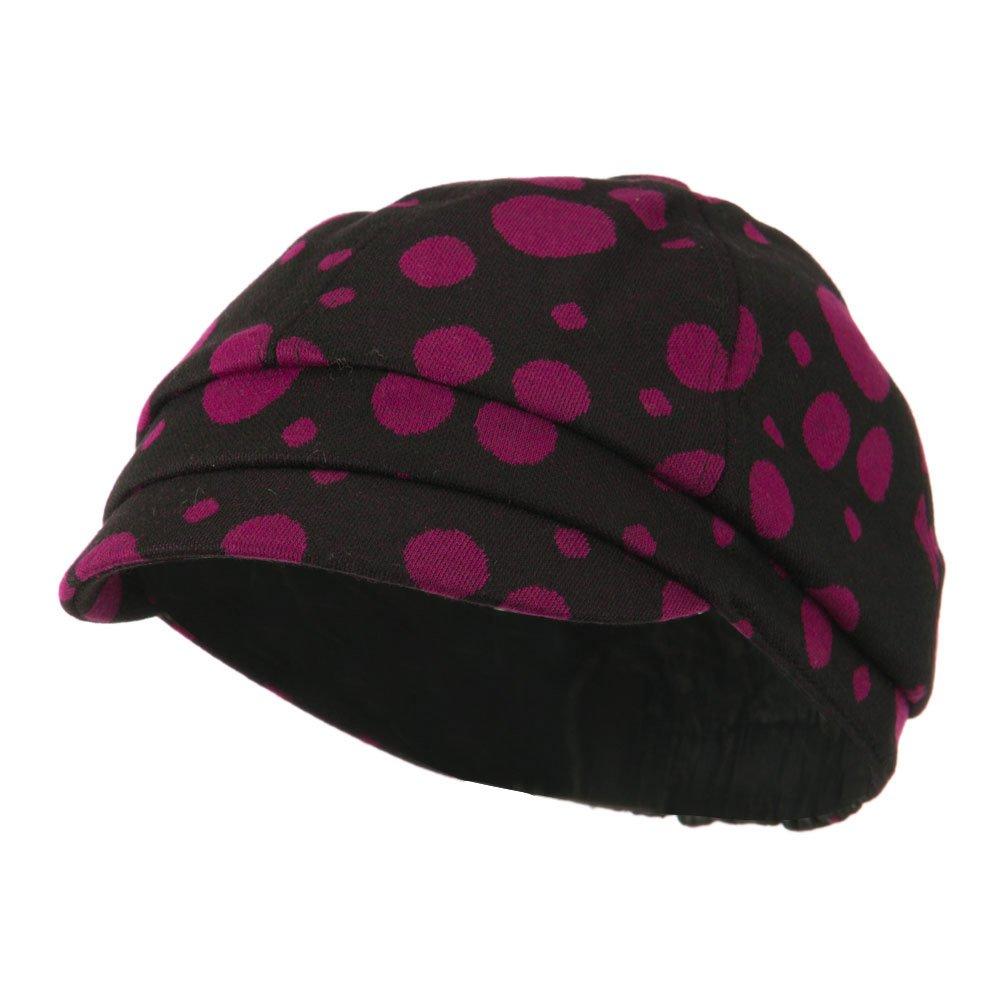 Girls Polka Dots Elastic Cabby Cap Fuchsia