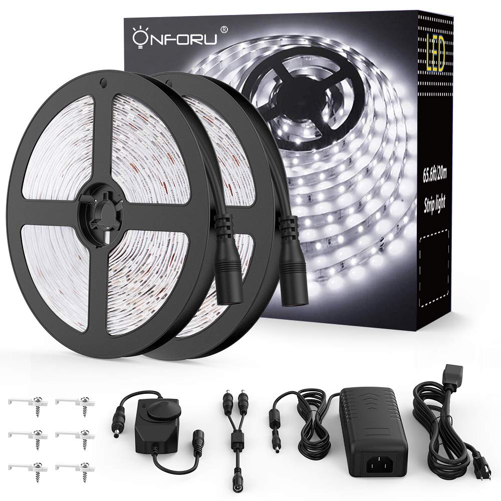 Onforu 66ft Dimmable LED Strip Lights Kit, UL Listed Power Supply, 6000K Daylight White, 20m 1200 Units SMD 2835 LEDs, 12V LED Rope, Under Cabinet Lighting Strips with Dimmer, Non-Waterproof LED Tape