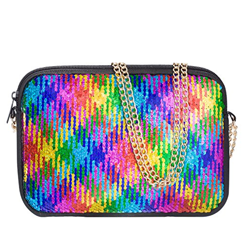 Clutch Purses for Women Neoprene Crossbody Purse Colored Sequin Bag Crossbody Bag Detachable Chain Crossbody Wallets - FUNLAVIE