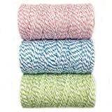 Wrapables 12-Ply Cotton Baker's Twine for Gift Wrapping and Arts and Crafts, 110-Yard Spool, Pink/Blue/Light Green, Set of 3
