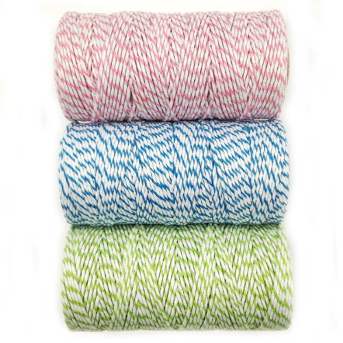 Wrapables 12-Ply Cotton Baker's Twine for Gift Wrapping and Arts and Crafts, 110-Yard Spool, Pink/Blue/Light Green, Set of 3 (Light Pink Bakers Twine)