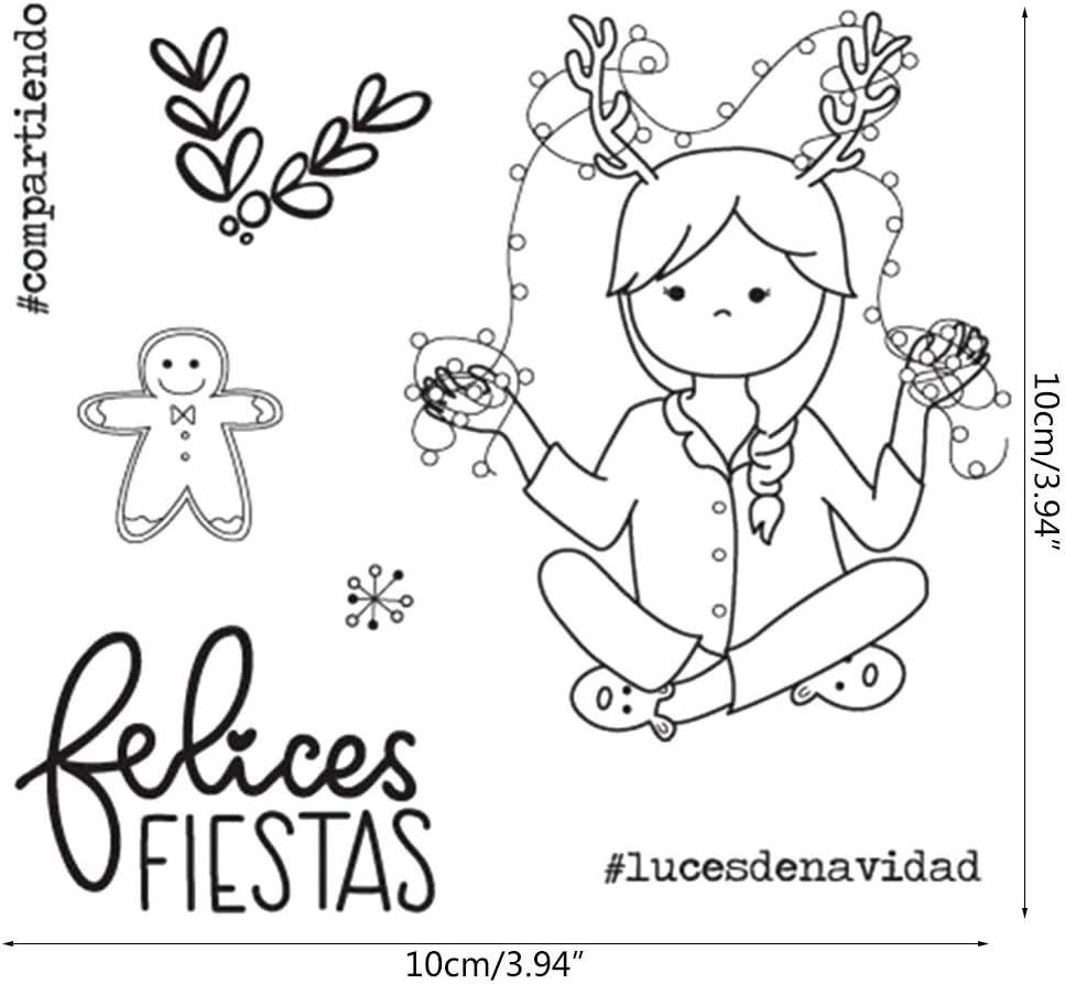 VIccoo Sello de Sello de Dibujos Animados F Feliz Navidad Sello de Silicona Sello DIY Scrapbooking Tarjeta de /álbum de Fotos en Relieve