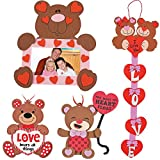 magic color scratch hearts - Valentine's Day Bears Craft Kit   Picture Frame, Sweetheart Door Hanger, Love Sign & Ornament   Kids DIY Classroom Exchange DayCare Home School Art Project Gift Decoration   4 Fun Boys & Girls Kits.