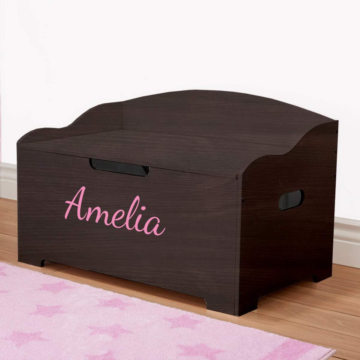 Personalized Dibsies Modern Expressions Toy Box - Espresso (Signature Series - Girls) (Signature Series - Girls)