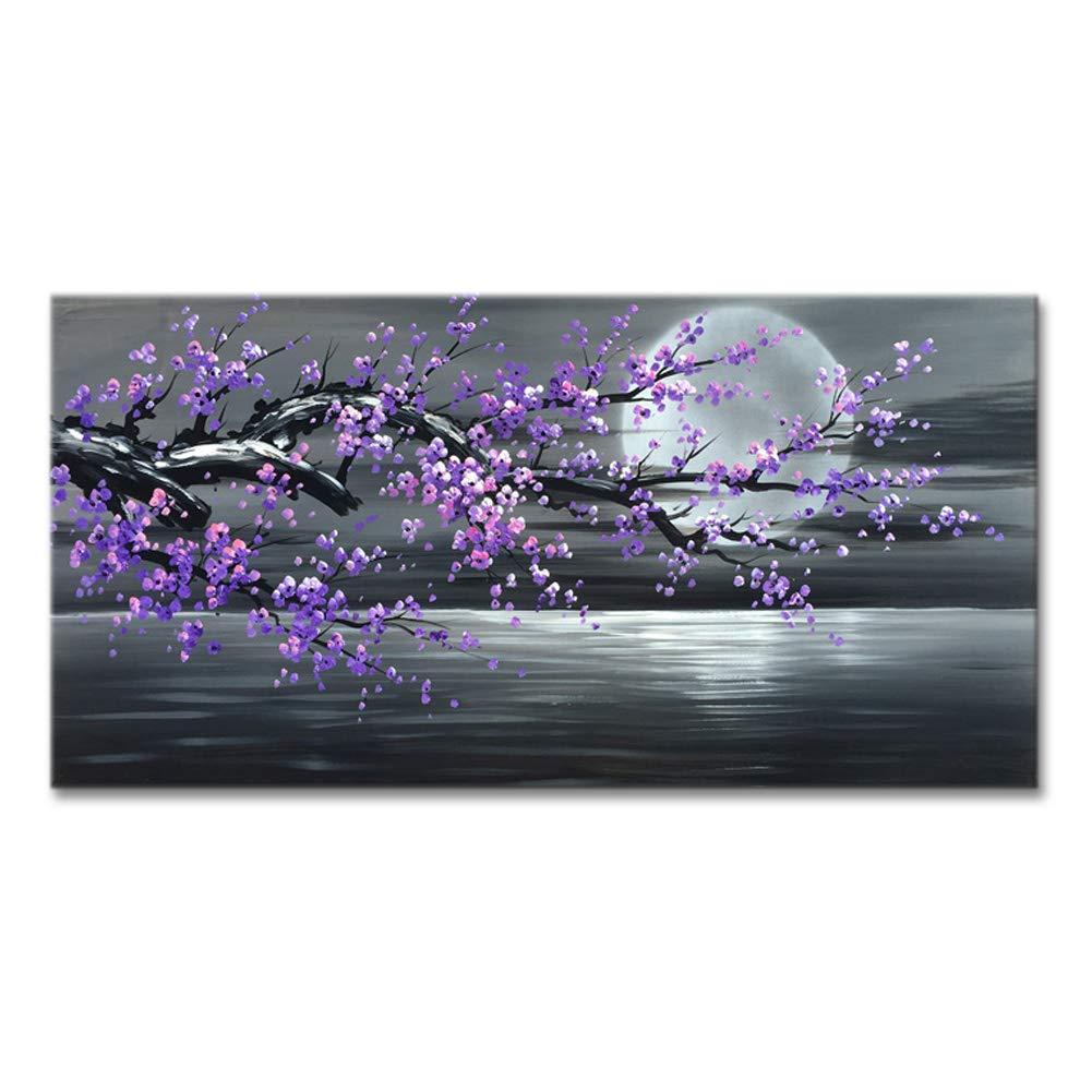 Konda Art Framed Plum Blossom Abstract Purple Flower Wall Art Painting Ready to Hang Modern Decoration Artwork On Canvas (Framed 40'' W x 20'' H)