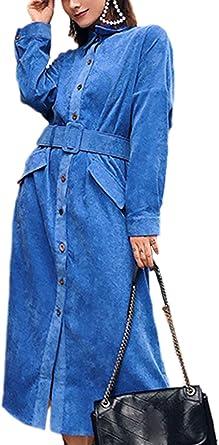 Vestidos con Cinturón Manga Murciélago Solapa Botón Abajo Vestido Camisa Mujer: Amazon.es: Ropa y accesorios