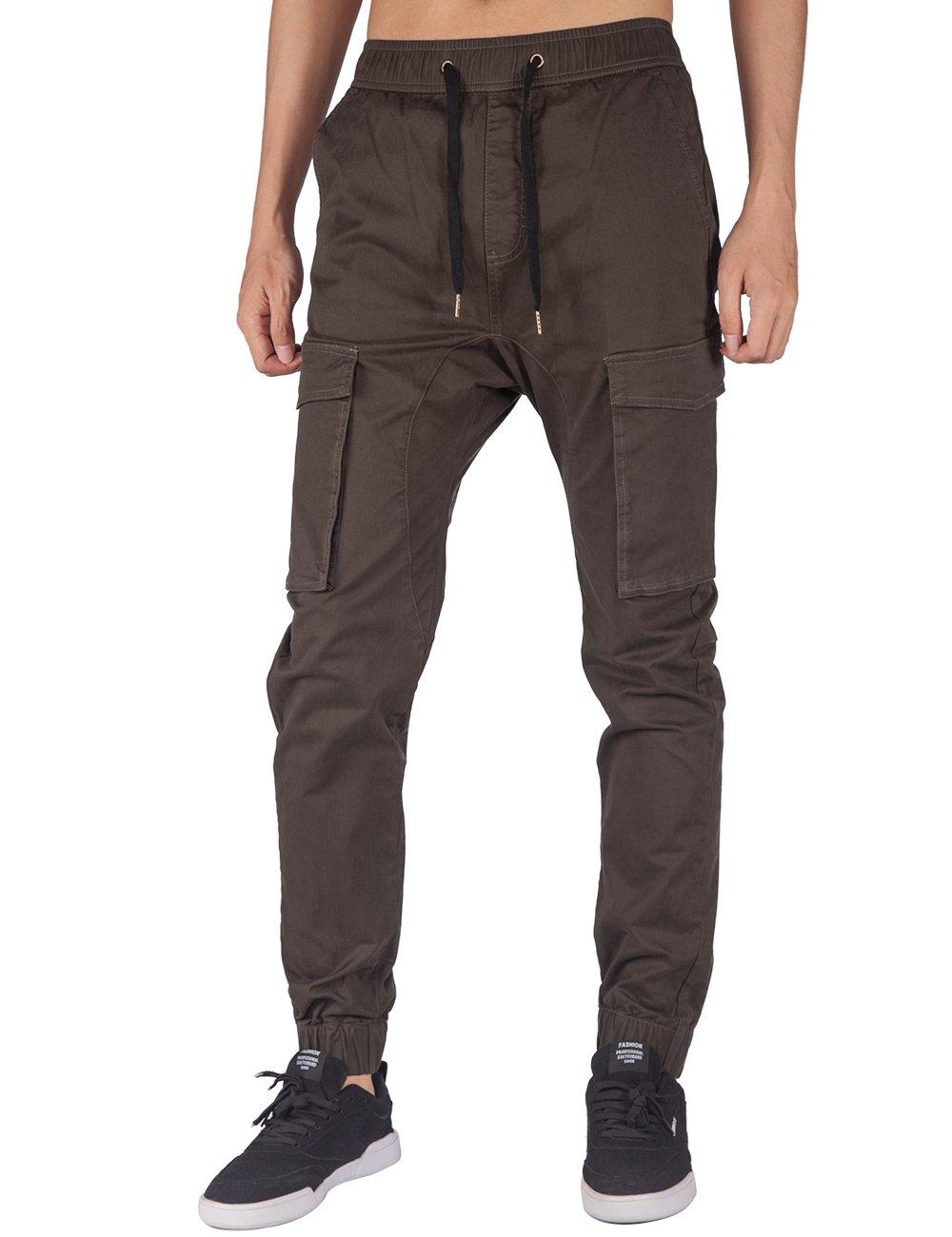 ITALY MORN Men's Jogger Cargo Pants Elastic Waist (Peat Grey, M)
