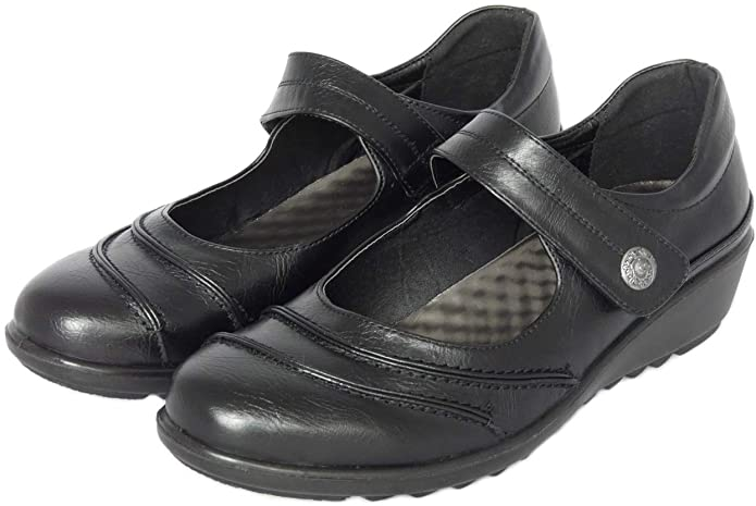 LADIES FAUX LEATHER MARY JANE LOW COMFORT WALKING SHOES BLACK UK 4-9