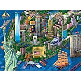 puzzle of new york city - Bits and Pieces - 300 Large Piece Jigsaw Puzzle for Adults - New York City View - 300 pc Statue of Liberty Skyline Jigsaw by Artist Joseph Burgess
