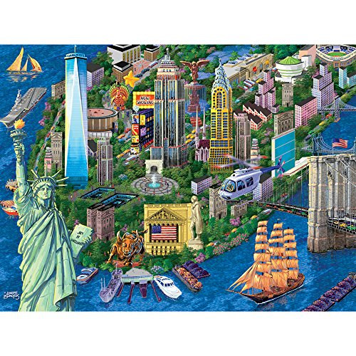 Bits and Pieces - 1000 Piece Jigsaw Puzzle for Adults - New York City View - 1000 pc Statue of Liberty Skyline Jigsaw by Artist Joseph Burgess