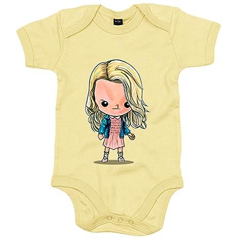 Body bebé Chibi Kawaii Stranger Things Eleven con peluca parodia - Amarillo, 6-12