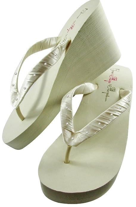 344af0696dc8 Bridal Flip Flops Womens Bridal Wedding Platform Heel Satin Flip Flops  Ivory 5 M US