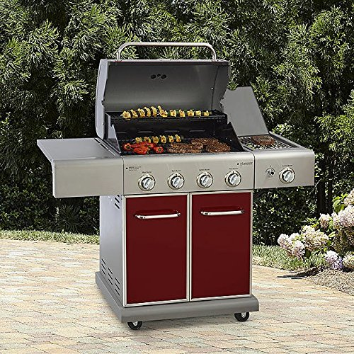 Kenmore 4 Burner LP Gas Grill w/ Searing Side Burner Outdoor Living Cooking, Red (Burners W/ 4)
