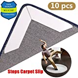MSLNCORP Rug Gripper Anti Slip Curling Carpet Grippers Corners Flat Keep Your Rugs In Place Makes With Renewable Tape Pad Floors Reusable Stop Slipping Strong Stickiness Non Hurting (white-10pcs, 1)