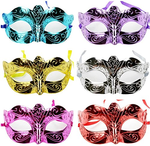 Gloous Halloween Masquerade Sexy Lady Painted Lace Mask Woman (A) (Painted Lion Faces For Halloween)