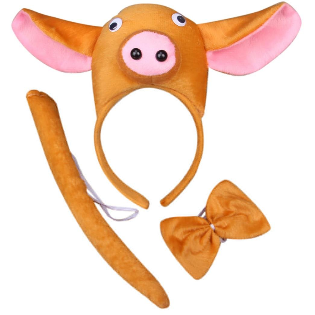 Perform Prop Animal Pig Set Zoo Headband Ears Bow Tail Fancy Dress for Kids New