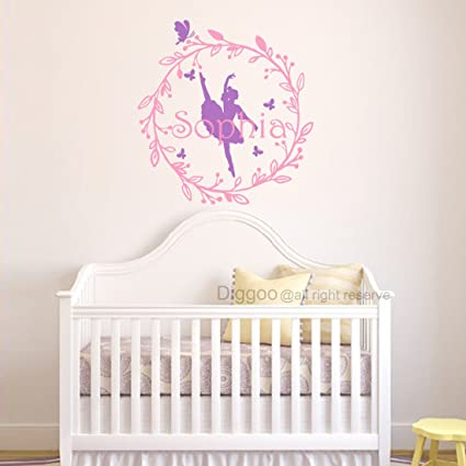 Ballerina Wall Decal Wreaths Girls Name Wall Decal Ballet Dance Vinyl  Decals Baby Girls Room Decor(23\