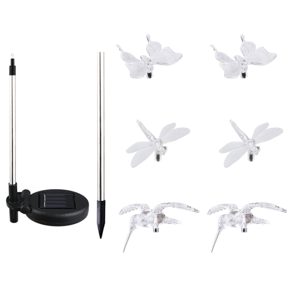 Solar Path Lights Yard Lights Led Lawn Lamp Solar Powered Outdoor Hummingbird Butterfly & Dragonfly Solar Garden Stake Light with Color Changing LED Light, 6 Pack Aunifun