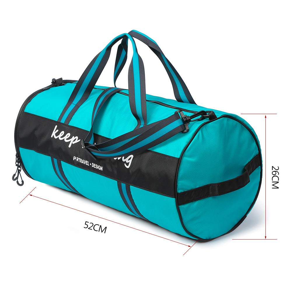 Sports Gym Bag Duffel Bag with Wet Pocket & Shoes Compartment,Waterproof Travel Duffel Bag Training Handbag Yoga Bag Weekender Overnight Bag for Men and Women 35L - Green