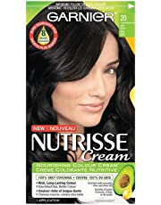 Garnier Nutrisse Cream Hair Color in 20 Soft Black. Grey Hair Cover Up, Hair Dye with Natural Conditioning Oils