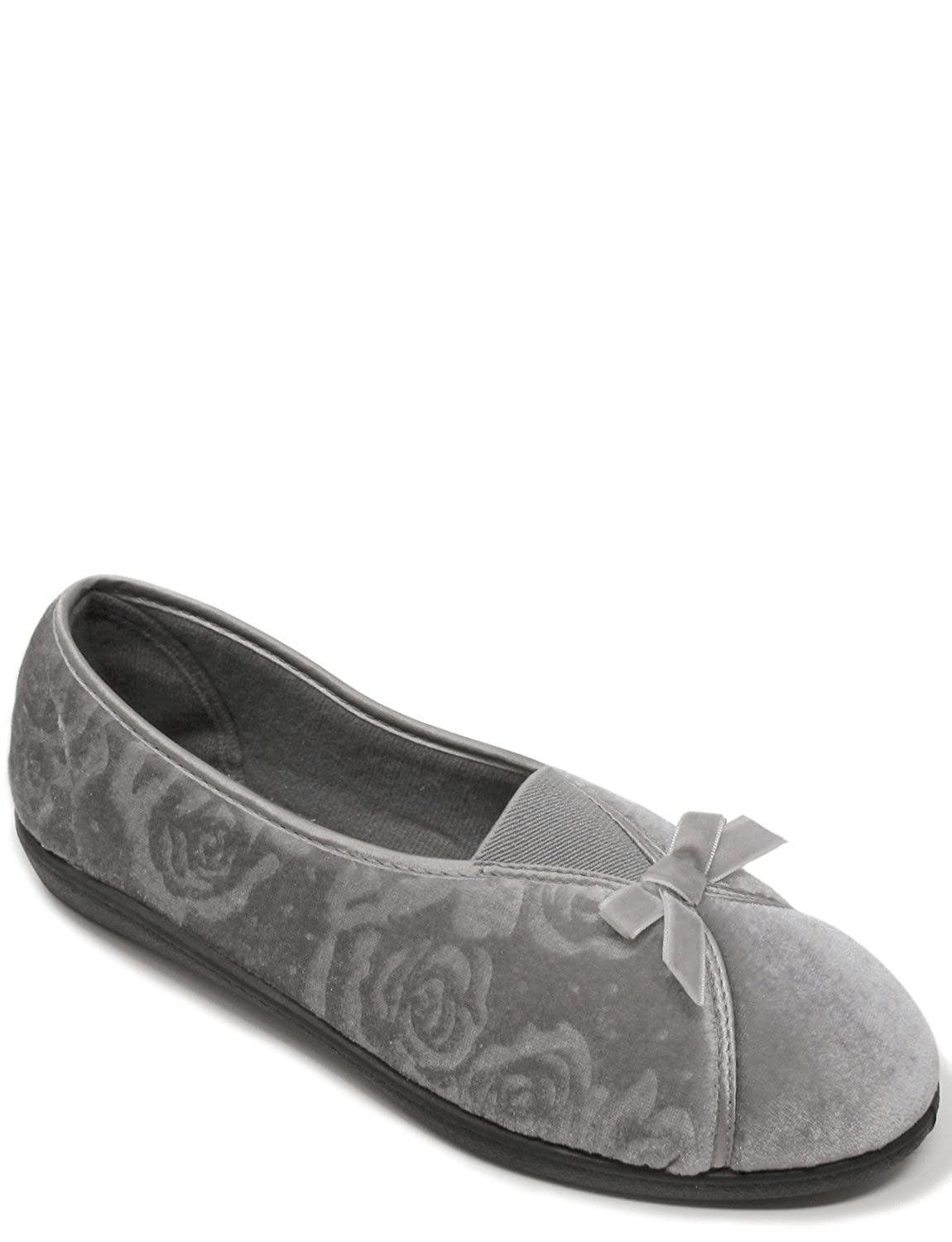 Chums Ladies Womens Velour Slipper with Elastic Gusset