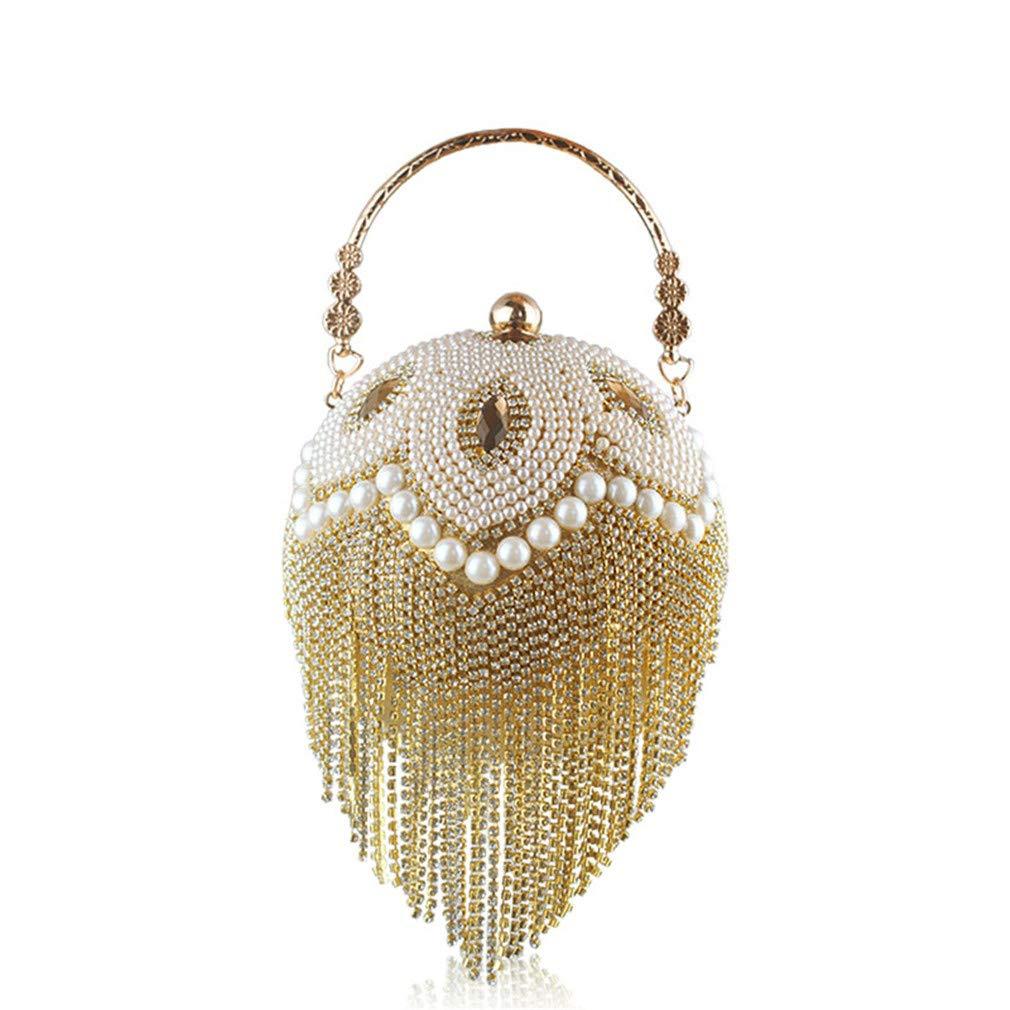 Amazon.com  uekj Tassel Women Pearl Beaded Crystal Party Evening Bag Bridal  Wedding Round Ball Wrist Bag Round Clutch Purse Handbag Gold  Sports    Outdoors 4f1b529cbdc8