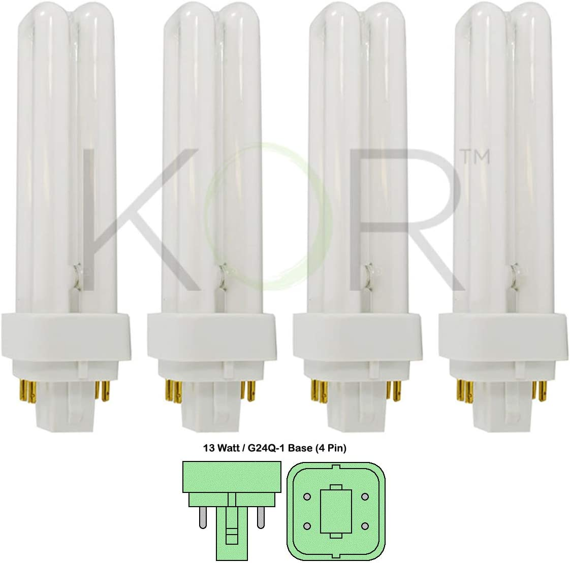 (Pack of 4) 13 Watt Double Tube - G24Q-1 (4 Pin) Base - 4100K Cool White - CFL Light Bulb. Replaces Sylvania 20667 CF13DD/E/841 - Philips 38328-1 PL-C 13W/841/4P/ALTO and GE 97597 F13DBX/841/ECO4P