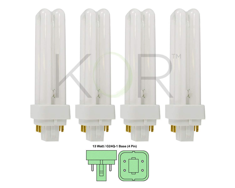 (Pack of 4) 13 Watt Double Tube - G24Q-1 (4 Pin) Base - 3500K Soft White - CFL Light Bulb. Replaces Sylvania 20671 CF13DD/E/835 - Philips 38327-3 PL-C 13W/835/4P/ALTO and GE 97596 F13DBX/835/ECO4P
