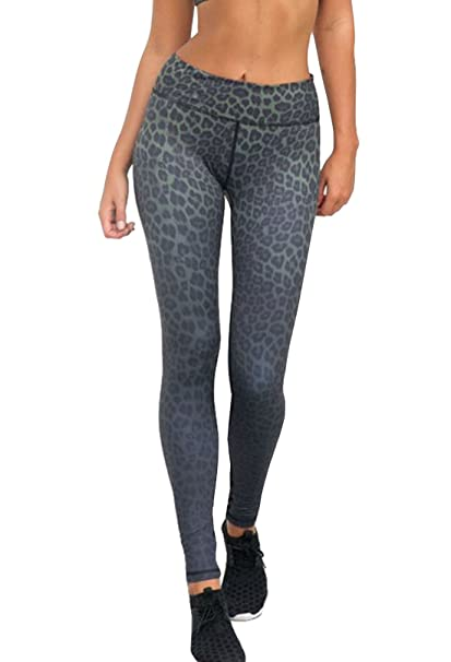 299926943eae2d Image Unavailable. Image not available for. Color: Hot Grey Leopard Pattern  Print Yoga Pants Slim Butt Lift ...
