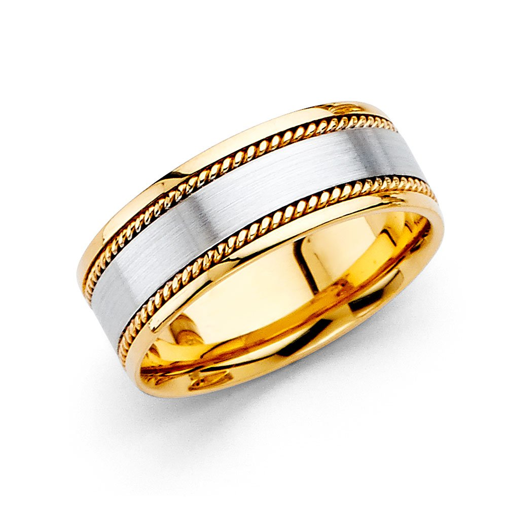 Wedding Ring Solid 14k Yellow White Gold Band Rope Edge Satin Finish Comfort Fit Two Tone 8 mm Size 11