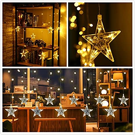 led string lights 7 ft 120 star shapped curtain string light waterproof fairy christmas lights