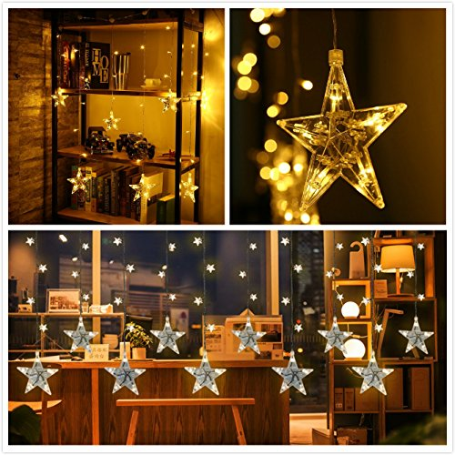 LED String Lights 7-ft 120 Star Shapped Curtain String Light Waterproof Fairy Christmas Lights Decoration with 8 Working Modes for Home Christmas Party Xmas Tree Halloween Festival and Celebration (Home Christmas Decorations)
