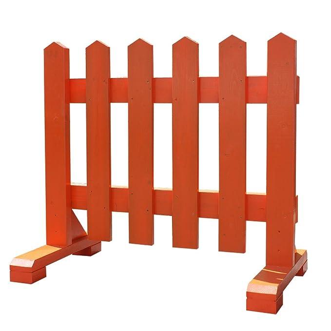 2cf68ec72b6e Amazon | 神社用ピケットフェンス幅90cm-朱赤-1個(受注製作/木製) | フェンス・垣