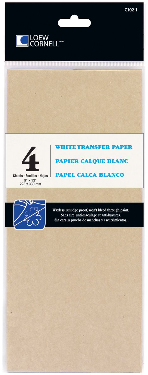 Loew-Cornell 102-1 4-Piece White Transfer Paper, 9-Inch-by-13-Inch Loew Cornell C102-1