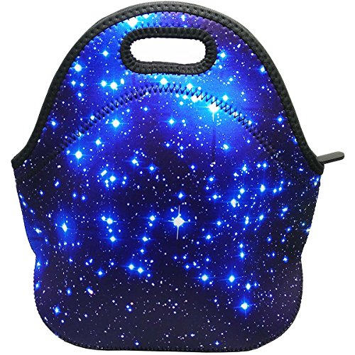 Star Lunch Box (Blue Shining Stars Waterproof Outdoor Carrying Lunch Tote Bag Neoprene Lunchbox Insulated School Travel Outdoor Thermal, By UHQ)